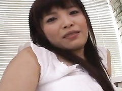 Japanese slut is getting nude and sucking hairy dick
