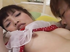 Steaming sexy Japanese babe hotly excites from nipples sucking