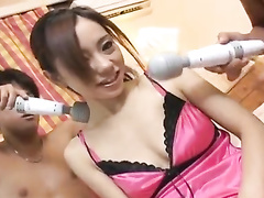 Japanese cutie in red underwear gets stroked with vibrator