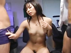 Skinny Japanese babe is getting fingered and fucked