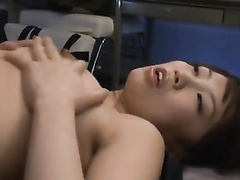 Japanese girl is feeling horny and fondling her tender body shape