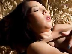Juicy Asian girl pleasantly masturbates her hairy pussy