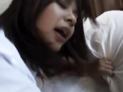 Young Japanese chick hotly fondles cunt in front of her fucker