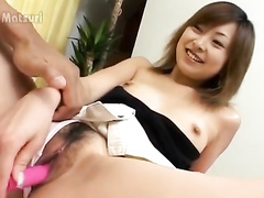 Brown haired beauty Asian babe gets masturbated with vibrator