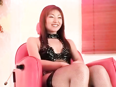 Japanese redhead chick is hotly posing in sexy lingerie