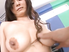 Japanese chick gets hot from gentle fondling before sucking dick