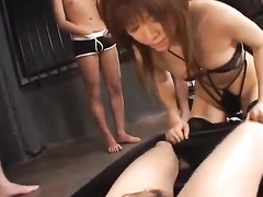 Brown haired Asian beauty gets fucked by group of guys
