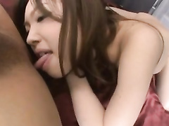 Wonderful young Japanese chick licks asshole and rides dick