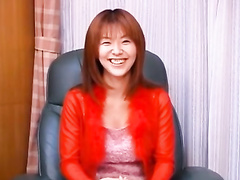 Beautiful redhead Japanese babe enjoys hot fuck with two guys