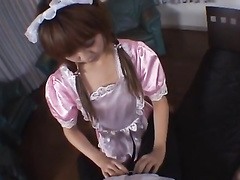 Young Japanese housemaid shows off creampie pussy