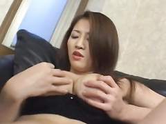 Wonderful Japanese chick hotly masturbates on couch
