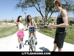 Teen Asian chicks are enjoying hardcore ffm threesome fuck with white dude