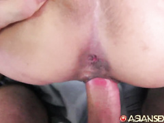 Little bit shy Philippine girl with small tits loves cowgirl pose fuck with white dude