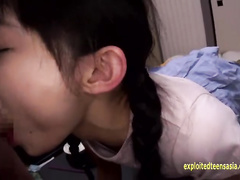 Pig tailed Japanese cutie is getting fucked in deepthroat and chocking