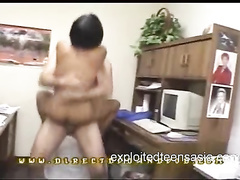 Skinny Asian girl with sexy boobs enjoys hardcore fuck on the desk in office